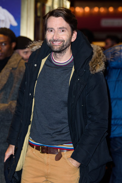 'Mary Poppins' At Prince Edward Theatre - Photocall [mary poppins,facial hair,beard,fashion,outerwear,human,event,moustache,jacket,t-shirt,david tennant,performance,photocall,prince edward theatre,england,london]
