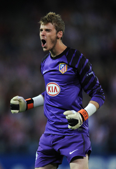 David de Gea Goalkeeper David de Gea of Atletico Madrid celebrates his team equalizing goal during the UEFA Europa League group B match between Atletico Madrid and Bayer 04 Leverkusen at the Vicente Calderon Stadium on September 30, 2010 in Madrid, Spain.