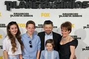 "Actor Andy Serkis (2R), his wife Lorraine Ashbourne (R) and sons Ruby Sekis, Sonny Serkis and Louis Serkis attend the ""Dawn of the Planet of the Apes"" (Amanecer en el Planeta de los Simios) premiere at the Capitol cinema on July 16, 2014 in Madrid, Spain."