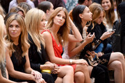 (L-R) Abbey Clancy, Laura Whitmore, Millie Mackintosh, Leah Weller and Rosie Fortescue attend the Julien Macdonald show during London Fashion Week Spring Summer 2015 at Somerset House on September 13, 2014 in London, England.