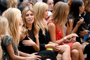(L-R) Lady Mary Charteris, Abbey Clancy, Laura Whitmore, Millie Mackintosh and Leah Weller attend the Julien Macdonald show during London Fashion Week Spring Summer 2015 at Somerset House on September 13, 2014 in London, England.