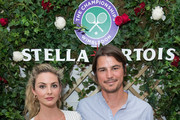 Stella Artois hosts (L-R) Tamsin Egerton and Josh Hartnett at The Championships, Wimbledon as the Official Beer of the tournament at Wimbledon on July 14, 2018 in London, England.