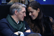 (L-R) Bastian Schweinsteiger and Ana Ivanovic attend the Singles Final between Novak Djokovic of Serbia and Andy Murray of Great Britain at the O2 Arena on November 20, 2016 in London, England.