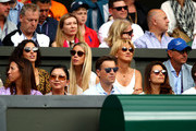 (L-R) Xisca Perello, girlfriend of Rafael Nadal of Spain, Maria Isabel Nadal, sister of Rafael Nadal of Spain and Ana Maria Parera, mother of Rafael Nadal of Spain look on during Day eleven of The Championships - Wimbledon 2019 at All England Lawn Tennis and Croquet Club on July 12, 2019 in London, England.