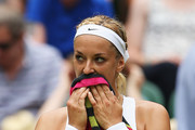 Sabine Lisicki of Germany sits in her chair during her match against Christina McHale of USA in her Women's Singles Second Round match during day four of the Wimbledon Lawn Tennis Championships at the All England Lawn Tennis and Croquet Club on July 2, 2015 in London, England.