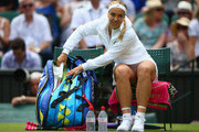 Sabine Lisicki of Germany arrives on court for her match against Christina McHale of USA for her Women's Singles Second Round match during day four of the Wimbledon Lawn Tennis Championships at the All England Lawn Tennis and Croquet Club on July 2, 2015 in London, England.