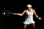 Agnieszka Radwanska of Poland returns against Elena-Gabriela Ruse of Romania on day one of the Wimbledon Lawn Tennis Championships at All England Lawn Tennis and Croquet Club on July 2, 2018 in London, England.