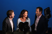 The sky sports crew Marcus Buckland, Annabel Croft and Greg Rusedski talk between a break in play during day one of the Nitto ATP World Tour Finals tennis at the O2 Arena on November 12, 2017 in London, England.