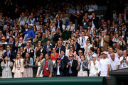 The player box of Roger Federer show their support in the Men's Singles final match between Roger Federer of Switzerland and Novak Djokovic of Serbia during Day thirteen of The Championships - Wimbledon 2019 at All England Lawn Tennis and Croquet Club on July 14, 2019 in London, England.