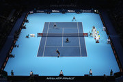 A general view in the Doubles match between Jamie Murray of Great Britain and Bruno Soares of Brazil and Bob and Mike Bryan of the United States during day two of the Nitto ATP World Tour Finals at O2 Arena on November 13, 2017 in London, England.
