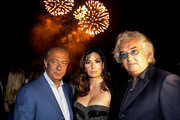 (L-R) Fawaz Gruosi, Elisabetta Gregoraci and Flavio Briatore attend the de Grisogono cocktail party at the Hotel Du Cap on May 18, 2010 in Cap D'Antibes, France.