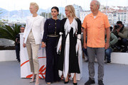 "Tilda Swinton, Selena Gomez, Chloe Sevigny and Bill Murray attend the photocall for ""The Dead Don't Die"" during the 72nd annual Cannes Film Festival on May 15, 2019 in Cannes, France."