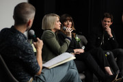 Michael O'Connell, Liz Feldman, Linda Cardellini and James Marsden speak onstage during the Dead To Me SAG NOM COMM at Netflix Home Theater on November 10, 2019 in Los Angeles, California.