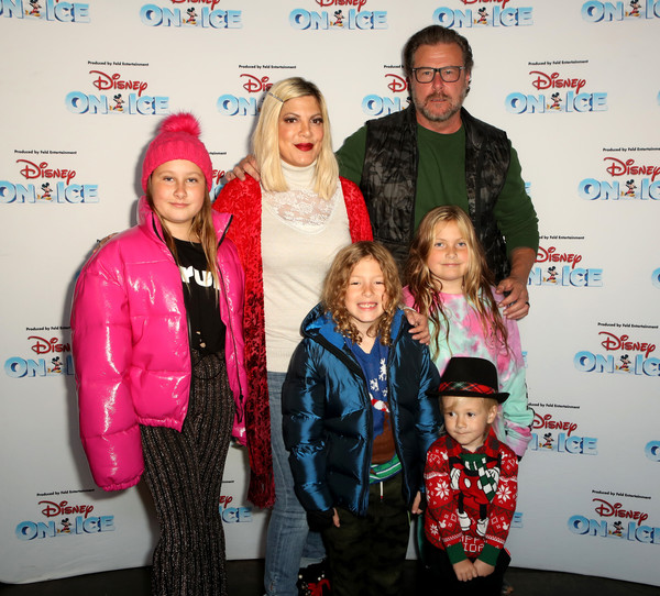 Disney On Ice Presents Mickey's Search Party Holiday Celebrity Skating Event [event,fun,outerwear,smile,family,jacket,california,los angeles,staples center,disney on ice presents mickeys search party holiday celebrity skating event,family,tori spelling,dean mcdermott]