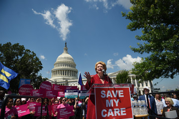 Debbie Stabenow Senate Democrats Hold Rally to Oppose GOP's Obamacare Repeal Efforts