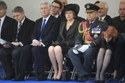 British Prime Minister Theresa May, Secretary of State for Defence Michael Fallon and Chief of the Defence Staff General Sir Nick Houghton attend the unveiling of the new memorial to members of the armed services who served and died in the wars in Iraq and Afghanistan at Victoria Embankment Gardens on March 8, 2017 in London, England.