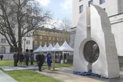 Queen Elizabeth II stands before viewing the unveiling of the new memorial to members of the armed services who served and died in the wars in Iraq and Afghanistan at Victoria Embankment Gardens on March 8, 2017 in London, England.