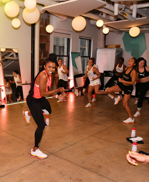 PUMA And Refinery29 Host The Launch Of The New PUMA LQD CELL Shatter Shoe [the launch of the new puma lqd cell shatter shoe,dance,sports,choreography,physical fitness,performing arts,zumba,exercise,aerobics,event,aerobic exercise,host,deja riley,workout class,new york city,refinery29,puma]