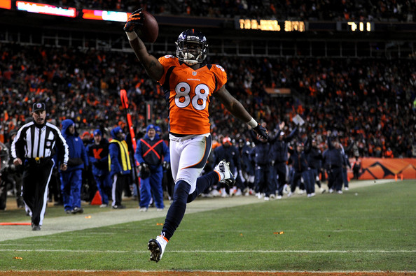 Demaryius Thomas Demaryius Thomas #88 of the Denver Broncos scores a 17-yard touchdown reception in the fourth quarter against the Baltimore Ravens during the AFC Divisional Playoff Game at Sports Authority Field at Mile High on January 12, 2013 in Denver, Colorado.