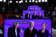 Sen. Bernie Sanders (I-VT), former Vice President Joe Biden and Sen. Elizabeth Warren (D-MA) appear on television screens in the Media Center during the Democratic Presidential Debate at Otterbein University on October 15, 2019 in Westerville, Ohio. A record 12 presidential hopefuls are participating in the debate hosted by CNN and The New York Times.