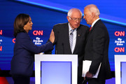 Sen. Kamala Harris (D-CA), Sen. Bernie Sanders (I-VT), and former Vice President Joe Biden interact after the Democratic Presidential Debate at Otterbein University on October 15, 2019 in Westerville, Ohio. A record 12 presidential hopefuls are participating in the debate hosted by CNN and The New York Times.