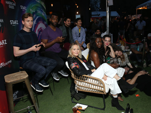 'American Gods' And 'Now Apocalypse' Live Viewing Party At #TwitterHouse [twitterhouse,american gods now apocalypse live viewing party,l-r,second row,first row,product,event,leisure,crowd,sitting,performance,table,night,music,audience,bruce langley,gregg araki,kelli berglund,demore barnes,avan jogia]