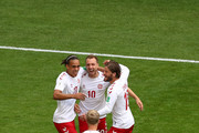 Christian Eriksen of Denmark celebrates with Yussuf Yurary Poulsen; Lasse Schone and Nicolai Jorgensen of Denmark after scoring the opening goal during the 2018 FIFA World Cup Russia group C match between Denmark and Australia at Samara Arena on June 21, 2018 in Samara, Russia.
