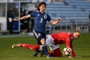 Sanne Troelsgaard of Denmark competes for the ball with Aya Sameshima of Japan during the Women's Algarve Cup Tournament match between Denmark and Japan at Algarve stadium on March 5, 2018 in Faro, Portugal.