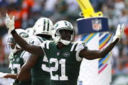 Morris Claiborne #21 of the New York Jets celebrates after breaking up a play in the end zone against the Denver Broncos in the game at MetLife Stadium on October 07, 2018 in East Rutherford, New Jersey.