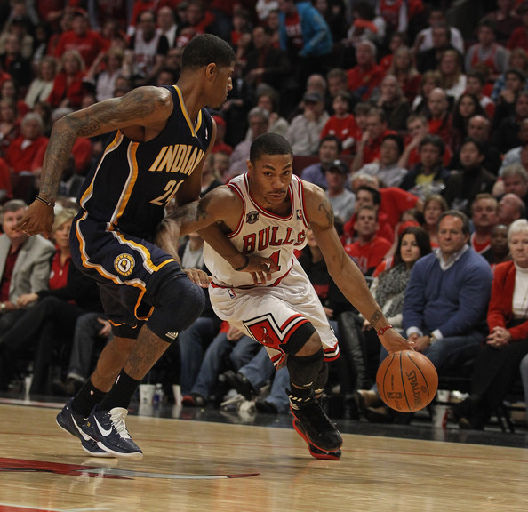 2a3f9145713 Derrick Rose and Paul George Photos»Photostream · Pictures · Indiana Pacers  v Chicago Bulls - Game One