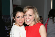(L-R) Sarah Stiles and Geneva Carr  (Hand to God) attend an evening to celebrate Creative Arts nominees for the 2015 Tony Awards at Hudson Terrace on May 20, 2015 in New York City.