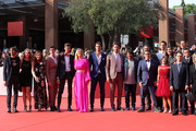 """Cast members walks the red carpet ahead of the """"Detective Per Caso"""" screening during the 13th Rome Film Fest at Auditorium Parco Della Musica on October 21, 2018 in Rome, Italy."""