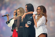 Jade Thirlwall, Leigh-Anne Pinnock, Perrie Edwards and Jesy Nelson of Little Mix perform ahead of the NFL match between Detroit Lions and  Atlanta Falcons at Wembley Stadium on October 26, 2014 in London, England.