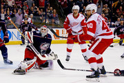 Sergei Bobrovsky #72 of the Columbus Blue Jackets blocks a shot from Henrik Zetterberg #40 of the Detroit Red Wings during the third period on March 9, 2018 at Nationwide Arena in Columbus, Ohio. Columbus defeated Detroit 3-2.