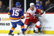 Frans Nielsen #51 of the Detroit Red Wings skates against the New York Islanders at the Barclays Center on December 19, 2017 in the Brooklyn borough of New York City.  The Red Wings defeated the Islanders 6-3.