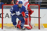 Tomas Plekanec #19 of the Toronto Maple Leafs skates against the Detroit Red Wings during an NHL game at the Air Canada Centre on March 24, 2018 in Toronto, Ontario, Canada.
