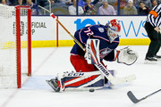 Sergei Bobrovsky #72 of the Columbus Blue Jackets makes a save during the game against the Detroit Red Wings on March 9, 2018 at Nationwide Arena in Columbus, Ohio.