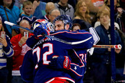 Sergei Bobrovsky #72 of the Columbus Blue Jackets is congratulated by Nick Foligno #71 of the Columbus Blue Jackets after defeating the Detroit Red Wings 3-2 on March 9, 2018 at Nationwide Arena in Columbus, Ohio.
