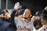 Miguel Cabrera #24 of the Detroit Tigers celebrates hitting a three run home run in the second inning during a baseball game against the Baltimore Orioles at Oriole Park at Camden Yards on April 28, 2018 in Baltimore, Maryland.