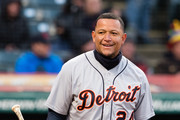 Miguel Cabrera #24 of the Detroit Tigers laughs after lining out to end the top of the sixth inning against the Cleveland Indians at Progressive Field on April 9, 2018 in Cleveland, Ohio.