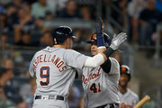 Victor Martinez #41 of the Detroit Tigers celebrates his fifth inning two run home run against the New York Yankees with teammate Nicholas Castellanos #9 at Yankee Stadium on August 30, 2018 in the Bronx borough of New York City.