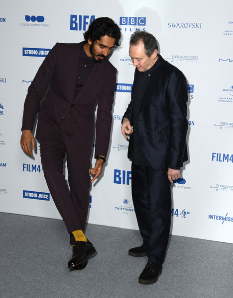 British Independent Film Awards 2019 - Red Carpet Arrivals [suit,formal wear,tuxedo,event,outerwear,white-collar worker,paul whitehouse,dev patel,british independent film awards,england,london,old billingsgate,red carpet arrivals]