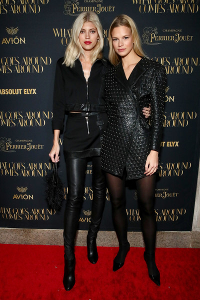What Goes Around Comes Around Madison Avenue Flagship Opening Celebration [clothing,little black dress,dress,fashion,footwear,carpet,tights,leather,event,premiere,what goes around comes around madison avenue flagship opening celebration,devon windsor,pernod ricard,new york city,nadine leopold]