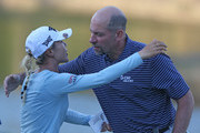 Lydia Ko of New Zealand hugs former MLB pitcher John Smoltz on the 18th hole after the third round of the Diamond Resorts Tournament of Champions at Tranquilo Golf Course at Four Seasons Golf and Sports Club Orlando on January 19, 2019 in Lake Buena Vista, Florida.