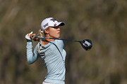 Lydia Ko of New Zealand hits watches her tee shot on the 15th hole during the third round of the Diamond Resorts Tournament of Champions at Tranquilo Golf Course at Four Seasons Golf and Sports Club Orlando on January 19, 2019 in Lake Buena Vista, Florida.