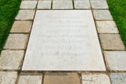 """A paving stone engraved with an extract inspired by The Measure of A Man poem which lies in front of the statue of Diana, Princess of Wales, in the Sunken Garden at Kensington Palace. The inscription reads: """"These are the units to measure the worth, Of this woman as a woman regardless of birth. Not what was her station? But had she a heart? How did she play her God-given part?"""" on July 1, 2021 in London, England. Today would have been the 60th birthday of Princess Diana, who died in 1997. At a ceremony here today, her sons Prince William, Duke of Cambridge and Prince Harry, Duke of Sussex unveiled a statue in her memory."""