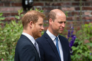 Prince Harry, Duke of Sussex and Prince William, Duke of Cambridge during the unveiling of a statue they commissioned of their mother Diana, Princess of Wales, in the Sunken Garden at Kensington Palace, on what would have been her 60th birthday on July 1, 2021 in London, England. Today would have been the 60th birthday of Princess Diana, who died in 1997. At a ceremony here today, her sons Prince William and Prince Harry, the Duke of Cambridge and the Duke of Sussex respectively, will unveil a statue in her memory.