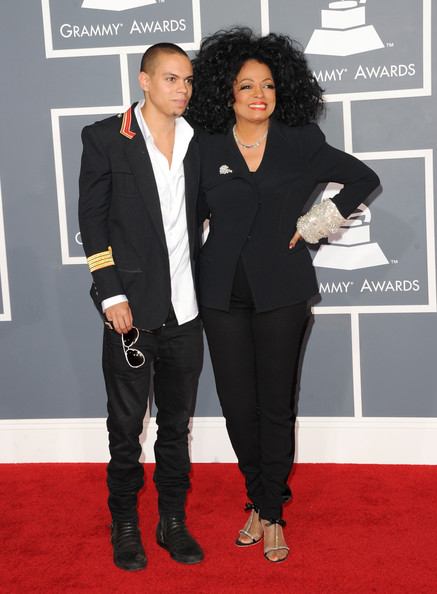 Diana Ross Singer Diana Ross (R) and son Evan Ross arrive at the 54th Annual GRAMMY Awards held at Staples Center on February 12, 2012 in Los Angeles, California.