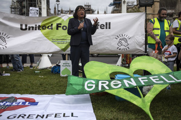 Diane Abbott Protestors Gather Outside Parliament In Tribute To Grenfell Tower Victims