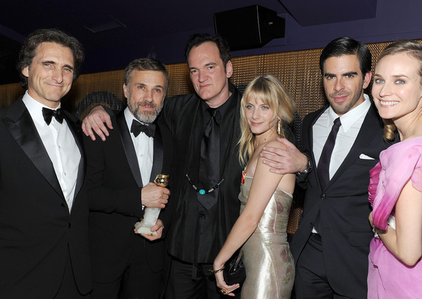 The Weinstein Company Golden Globes After-Party - Inside [event,suit,formal wear,fashion,premiere,fun,tuxedo,smile,photobombing,lawrence bender,melanie laurent,eli roth,christoph waltz,quentin tarantino,diane kruger,l-r,the beverly hilton hotel,weinstein company golden globes,the weinstein company golden globes]